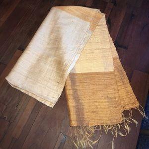 Silk tan striped scarf