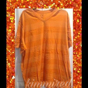 Mens Orange Striped V-Neck Tee/Shirt ~ 2XL (50-52)