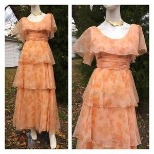 50's Chiffon Flounce Prairie Dress Folk Hippy Prom