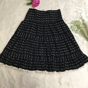 Zara Basic Embroidered A-line Flare Black Skirt