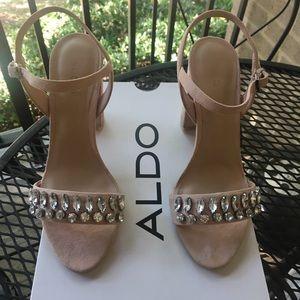 Fancy sparkly Blush pink block heel
