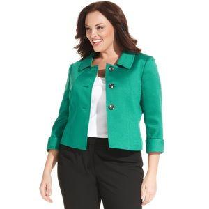 Tahari Emerald Green Button Cuff Sleeve Blazer