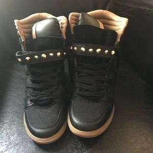 Zara high top studded wedge sneakers