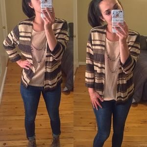 Brown Tan Gold Cardigan with Faux Cami & Necklace