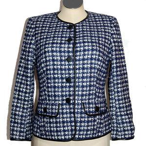 LAFAYETTE 148 Blue, White, Black Check Suit Jacket