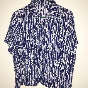 🐋 Vintage navy & white blouse top