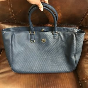 TORY BURCH Navy/Gold Large Leather tote