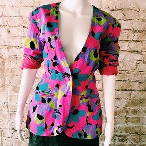 Vintage neon pink cinched waist silk flower blazer