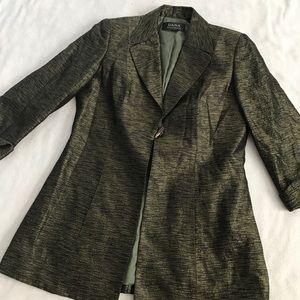 Dana Bachman Army Green Silk Wool Toggle Blazer