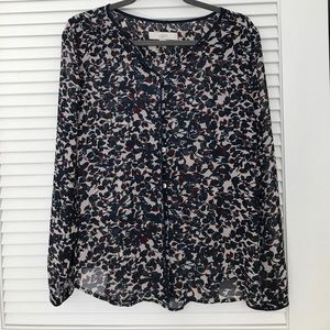 LOFT maroon and navy floral blouse