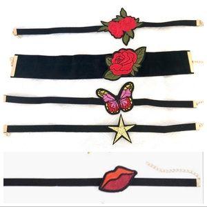 5 for $25 -- Black Velvet Embroidered Chokers