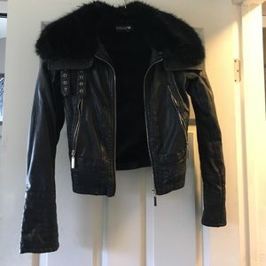 Forever 21 Faux Leather Jacket Fur