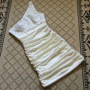 🆕 White Cream Cocktail Wedding Dress 👰🏼🏝🛳🍾🎶