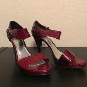 White House Black Market red snakeskin heels, 8.5