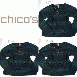 {Chico's} Teal & blue striped sweater