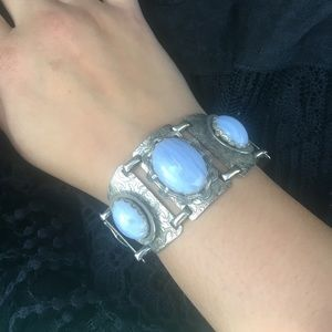 💎Vintage natural stone Antiqued silver cuff