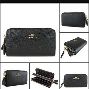 Coach Black Small Double Zip CoinCase Wallet 57855