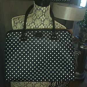 Kate Spade Calista laptop bag black polka dot