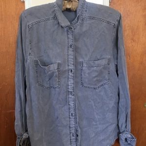 abercrombie and fitch grey button down shirt