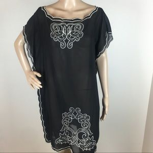 Forever 21 Sheer Black Cover Up Dress Tunic XL