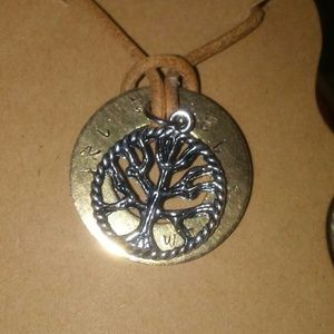 Family tree. Customize necklace leather bronze