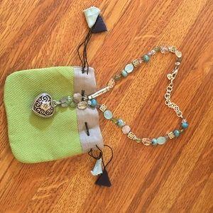 Brighton-like puffed filigree heart necklace. NWOT