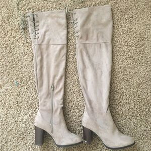 Tan suede over the knee boots!