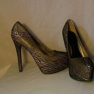Qupid 6.5 glitter fishnet shoes