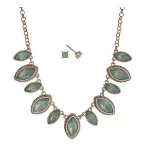 Gold Tone and Mint Green Marquee Statement Set