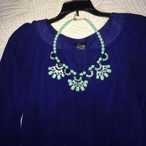 Bebe necklace, teal and dark blue