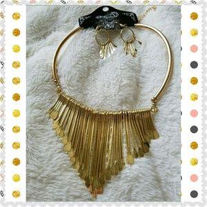 Gold Statement Necklace earrings set fringe choker