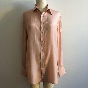 RALPH LAUREN 100% silk millennial pink button down