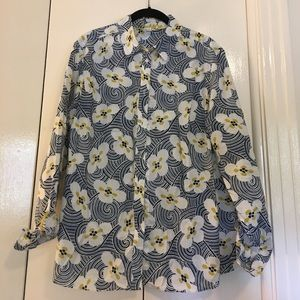Boden size 12 patterned button down shirt