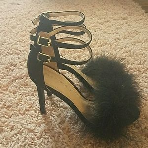 Black fuzzy high heels