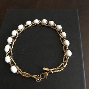 Vintage Monet milk glass gold plated bracelet.