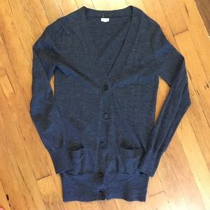 J Crew sweater with pockets, charcoal gray.
