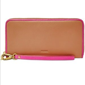 NEW FOSSIL EMMA LARGE ZIP CLUTCH WALLET