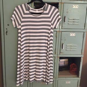 Cozy black and white striped dress