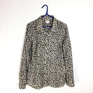 J Crew Factory Leopard Button Down Perfect Shirt