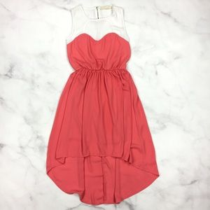Malloy Coral Heart High Low Sleeveless Dress