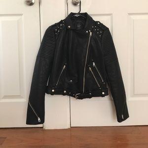 Zara Graffiti faux leather biker jacket