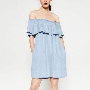 Zara, off the shoulder blue dress