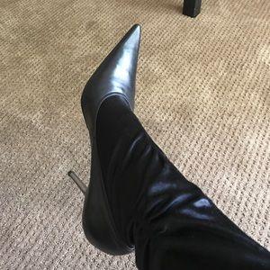BCBGIRLS black silver high heel boot