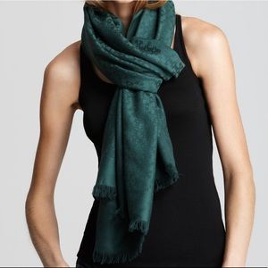 """Tory Burch Allover """"T"""" Jacquard Scarf - TREE GREEN"""