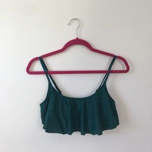 NEVER WORN!! Ruffled green bathing suit top