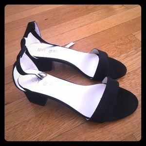 Black Faux Suede Sandals 8.5