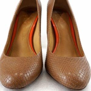 Coach Brown Snake Print Leather Women 8B Pump Heel