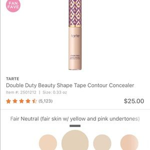 Tarte shape tape fair neutral brand new in box