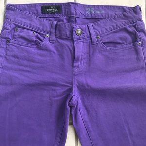 JCrew woman's purple ankle toothpick Size 28