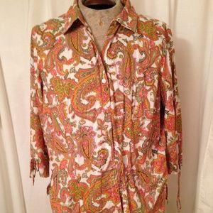 Cappagallo Button Down Shirt Multi Colors Size XL